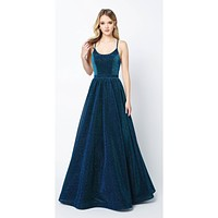 Criss Cross Back Ball Gown Style Glitter Prom Dress Peacock