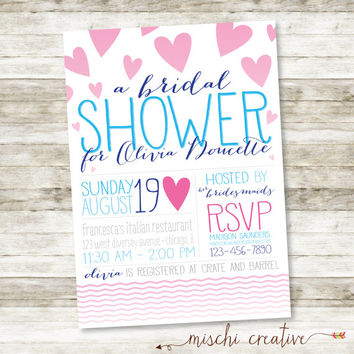 "Falling Hearts / Modern and Feminine Bridal Shower DIY Printable Invitation in Pink, Blue and Navy -  5"" x 7"""
