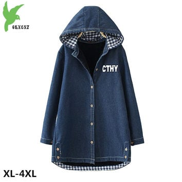 New Warm Winter Denim Jacket Female Costume Plus size Hooded Soat Plus Cashmere Casual Tops Thicker Cowboy Outerwear OKXGNZ A547