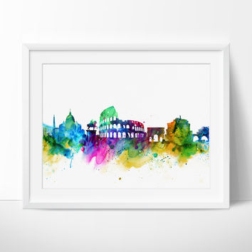 Rome City Skyline, Rome Cityscape, Rome Print, Watercolor Art, Watercolor Painting,Rome City Art, Map Poster, Skyline Art (129)