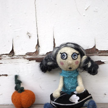 Unique OOAK doll Art doll- miniature needle felted collectible pumpkin doll, halloween mini doll figurine