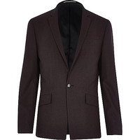 River Island MensDark red wool-blend slim blazer
