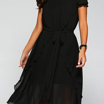 Overlay Irregular Chiffon Dress