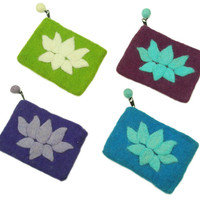 Felted Lotus coin purse