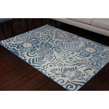 5405 Blue Contemporary Area Rugs