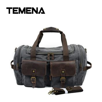 Temena 2018 Canvas Leather Men Travel Bags Carry on Luggage Bags Men Duffel Bags Travel Tote Large Weekend Bag Overnight ATB622