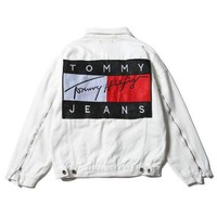 Tommy Hilfiger Women Men Lover Denim Cardigan Jacket Coat
