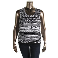 INC Womens Plus Printed Scoop Neck Knit Top