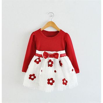 2017 Baby Princess Girls Toddler New Born Flower Dress for Newborn Long Sleeves 1-2 Year Birthday Baby Dresses for Children