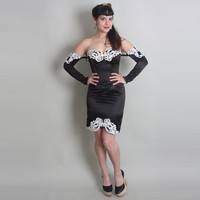 80s SATIN Strapless Dress with SLEEVES - Vintage 1980s Jessica McClintock Party Dress - xs / s