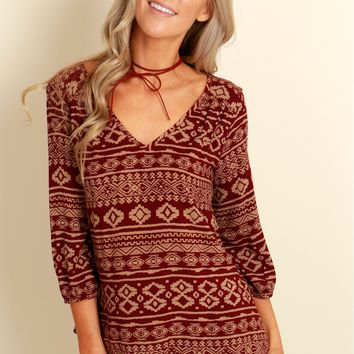 Glory Days Aztec Top Burgundy