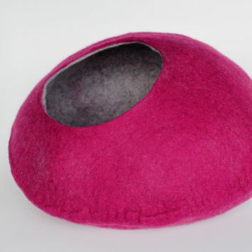 TWO COLORED Cat cave / cat bed / felted cat cave / cat nap cocoon