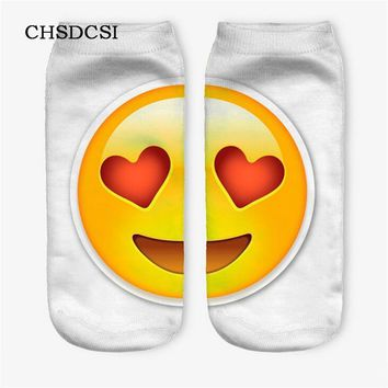 Top Quality Socks Female 3D Fashion Printing Women Sock Unisex Emoji Pattern Meias Sock Feminina Funny Low Ankle Hosiery W031