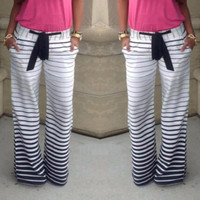 Women's Stripe Joggers Sports Palazzo Trousers Pants Wide Legs Design