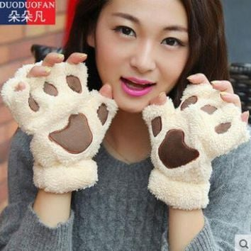 DCK9M2 2016 Free Shipping Fluffy Bear/Cat Plush Paw/Claw Glove Novelty Halloween Soft Toweling Half Covered Women's Gloves Mittens