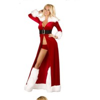 Sexy Long Red Christmas Coat Party Costomes