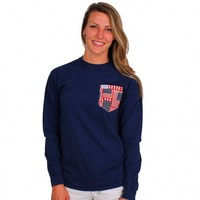 The Betsy Long Sleeve in Deep Sea Navy with American Flag Pocket by the Frat Collection