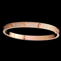 One-nice? Cartier Woman Fashion LOVE Diamond Plated Bracelet Jewelry