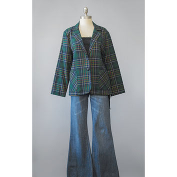 Tartan Plaid Jacket - 80s Blazer - Green Wool Blazer Jacket - Womens Suit Jacket - Tartan Jacket - 1980s Oversize Blazer - Plaid Blazer L/XL