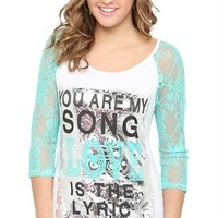 Three Quarter Lace Sleeve Top with You are My Song Screen