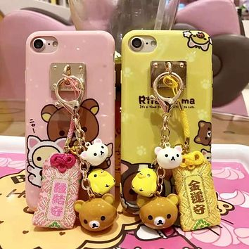 Rilakkuma Printed Case for iPhone 7 7plus 6 6s 6plus Soft IMD TPU Gel Back Case Funda Cover with Bell and Lucky Bag