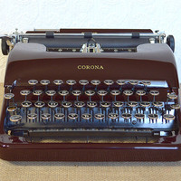 Restored Antique Typewriter- Working Maroon Smith-Corona Silent Portable from 1940 With Original Case, Fully Serviced, New Ribbon Installed