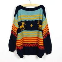 Lovely Christmas Deer Pattern Dolman Sleeves Knitted Sweater Top 3 Colors