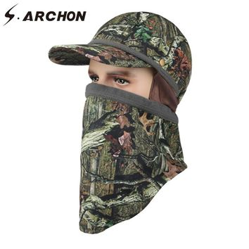 26c4c73dfcf S.ARCHON Winter Fleece Tactical Hat Head Hooded Camo Hunting Cap