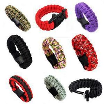 1PC Unisex Self-rescue Parachute Cord Paracord Bracelet Outdoor Camping Emergency Escape Rope Buckle Travel Survival Tool Kit