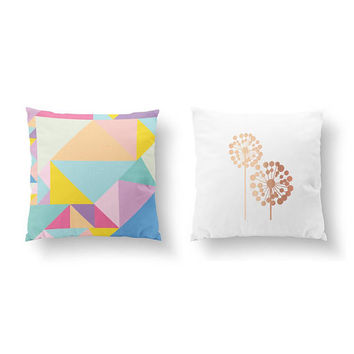 SET of 2 Pillows, Colorful Pillow, Gold Pillow, Abstract Pillow, Big Dandelion, Bed Pillow, Throw Pillow, Cushion Cover, Flower Pillow