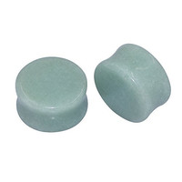 Longbeauty Pair Aventurine Jade Natural Organic Flesh Tunnels- Stone Ear Plugs-Ear Gauges 6MM