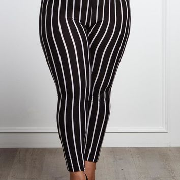 I Need An Answer Plus Size Striped Leggings Bottoms+ GS-LOVE
