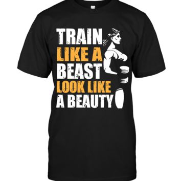 Train Like A Beast, Look Like A Beauty, Women's Motivational Fitness and Gym Quotes Top
