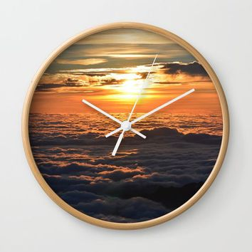 Sunset Over Clouds Wall Clock by ARTPICS