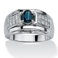 Men's 1.52 TCW Oval Cut Simulated Sapphire Cubic Zirconia Accent Sterling Silver Classic Ring
