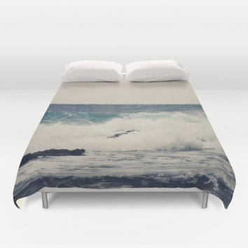 Art Duvet Cover Ocean Blue photography home decor photograph gray Nautical photo Beach house bedding full queen king navy tan sea bedroom