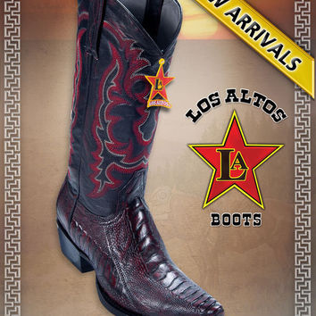 Snip Toe Ostrich Leg Cherry Black Men's COWBOY WESTERN BOOTS BY LOS ALTOS BOOTS