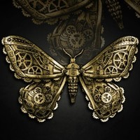 Brass Mechanical Moth Hair Clip