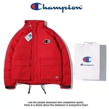 Champion High Quality Winter New Fashion Couple Warm Zipper Cardigan Cotton Jacket Coat Windbreaker Red