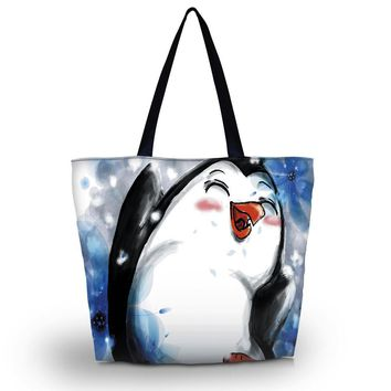 Penguin Soft Tote Bag Women Beach Large Foldable Tote Shoulder Shopping Bag Purse Handbag Travel School Recyclable Bag Tote