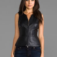Trina Turk Leather Tatyana 2 Top - Solid in Black