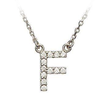1/8 Cttw Diamond & 14k White Gold Block Initial Necklace, Letter F