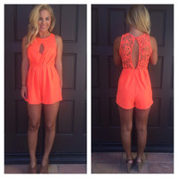 Dancing in the Isles Romper - Neon Orange
