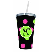 Cypress Home Polka Dot Monogrammed 17-Ounce Insulated Cup With Lid and Straw, Letter M