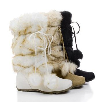 Tara Mukluk Wrap Around Mid Calf Faux Fur Boots