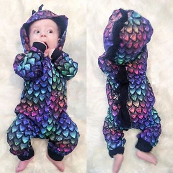 2019 Fashion Baby Boy Girls 3D Dinosaur Costume Colorful Hooded Romper with Zipper Newborn Long Sleeve Playsuit Clothes
