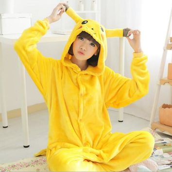 ship Christmas Japan Adult  Pikachu Kigurumis Cosplay Footed One Piece Pajamas Onesuit Costume Fleece Clothing XLKawaii Pokemon go  AT_89_9