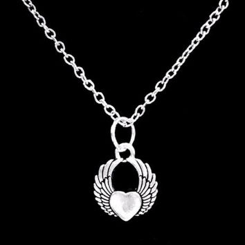 Winged Heart, Guardian Angel Wing In Memory Remembrance Valentine Necklace