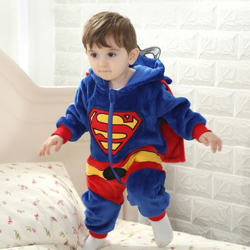 2014 new winter flannel baby Romper Superman modeling baby Siamese climb clothing = 1945887108