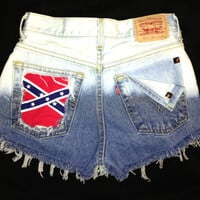 Levis 501 button fly High waist destroyed denim shorts super frayed with US flag and studs size Small